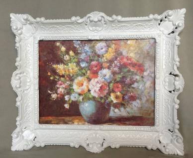 Gemälde Blumen in Vase Blau Wandbild 57x47 Blumen Bild mit Rahmen Weiß 04