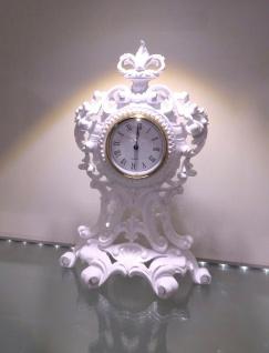 Tischuhr Weiß Kaminuhr Antik Barock 36 cm Standuhr Quarz dekoratives Schrankuhr - Vorschau 5