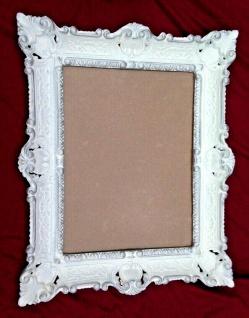 Bilderrahmen Weiß-Silber mit Glas Barockrahmen 56x46 Antik Prunk Rahmen Rokoko