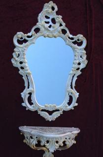 Wandkonsole Weiß Gold mit Wandspiegel Antik Barock 50x76 Wandregal Badspiegel - Vorschau 4
