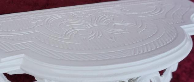 Wandkonsole Konsole Barock Weiß Silber 50x20x24 Wandregale Antik Spiegelkonsole - Vorschau 3