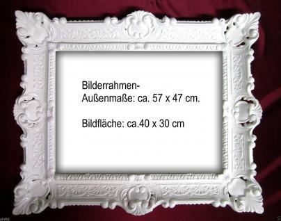Bilderrahmen Jugendstil Weiß hochglanz BAROCK 57x47 SHABBY 30x40 mit Rückwand