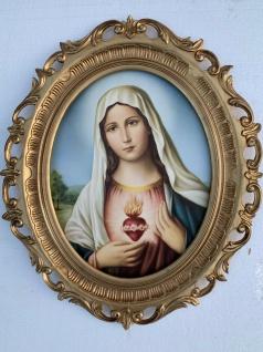 Heiligen Bild Maria Bild mit Rahmen Madonna Antik 58x68cm Maria Mutter gottes