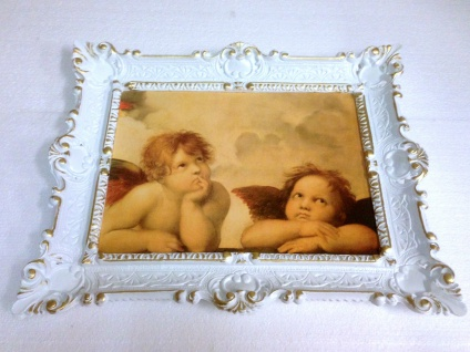 Bild mit Rahmen weiß-gold barock 56x46-30x40 Gemälde Antik Erzengel Raphael