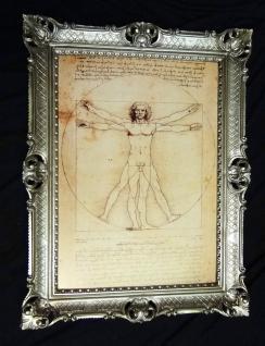 Gemälde Vitruvianischer Mensch Leonardo da Vinci 70x90 Bild mit Rahmen Silber