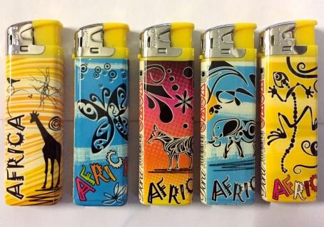 50 Feuerzeuge mit Afrika Tier Motiv nachfüllbare lighter NEU Feuerzeug