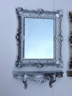 Wandspiegel Rechteckig mit Konsole Silber hochglanz Spiegelablage 56X46 BAROCK