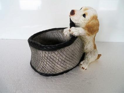 Hundefigur mit Korb 33x26x25 SkulpturTiere Hundewelpe Gartendeko Tierfigur
