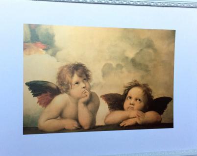 Schutzengel Raffaels Engel Postengel auf MDF 50x70cm Wandbild Heilige Bild