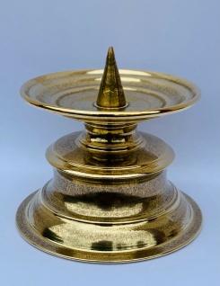 Kerzenleuchter 9cm Messing Henkel Kerzenständer gold Kerzenhalter Stumpenkerze