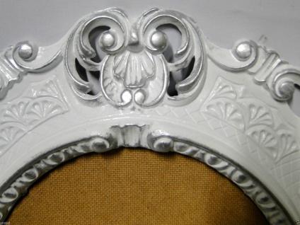 BILDERRAHMEN Weiß-Silber Oval Antik Barock Fotorahmen 45X37 Spiegelrahmen Neu