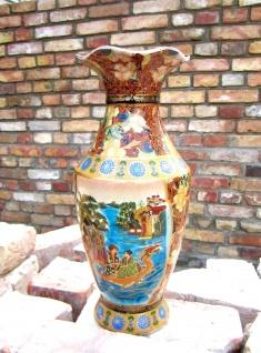Dekoratives Bodenvase Chinesische Vase in Braun 40 cm Neu Deko Vase Handgemalt