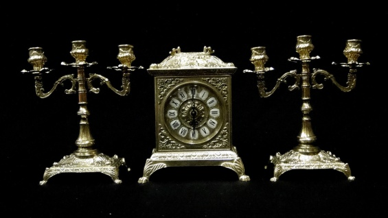 Kaminuhr Set Messing mit Kerzenständer Barock Tischuhr*Antik*Uhr Kaminset Uhr - Vorschau 5