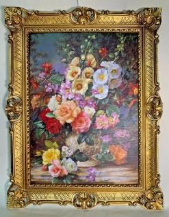 Blütenpracht Blumenstrauß in Vase Wandbild 90x70 Kunstdruck Gemälde Rosen Rahmen