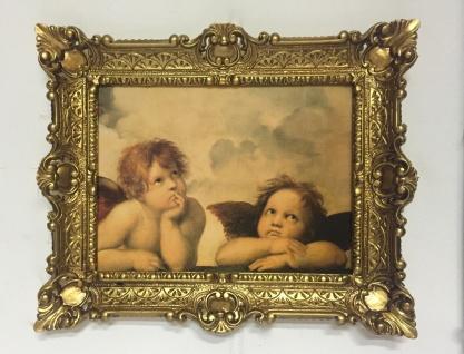 Gemälde Raffael Engel Bild mit Rahmen Barock 56x46 Schutzengel Raphael Engelpaar