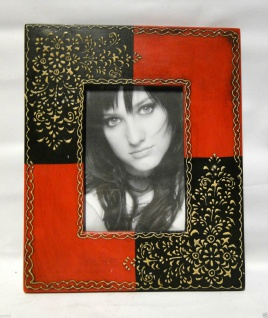 Bilderrahmen HOLZ Antik 24x30 Rot Schwarz 13x18 Ausstellungsstück Fotorahmen