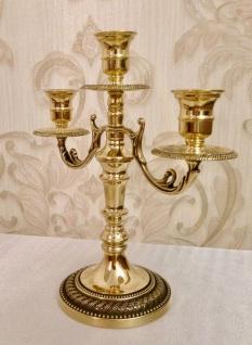 ANTIK Kerzenständer MESSING Kerzenleuchter 3 armig GOLD 26cm Massiv Kandelaber - Vorschau 3