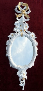 Wandspiegel Antik Oval Barock Weiß-Gold Spiegel 60X24 Deko Spiegel c501