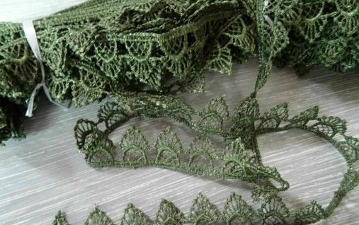 Borte Spitzenband Spitze Spitzenbordüre GRÜN Kissen Gardine Nähen Deko 1, 8 cm