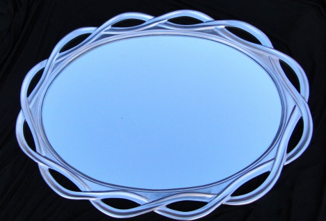 Wandspiegel Flurspiegel SILBER GROSS Oval- BADSPIEGEL 120 x 90 ANTIK SPIEGEL
