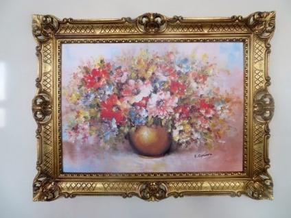 Gerahmte Gemälde Blumen Bild 90x70 Blumen mit Vase Gold Bild mit Rahmen 98