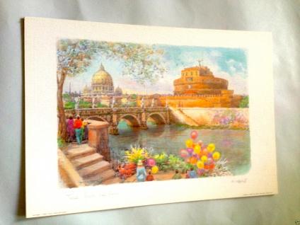 Rom Italien Castel Sant Angelo Bild Brücke 50x35 Schloss ANGELO mit MDF Platte