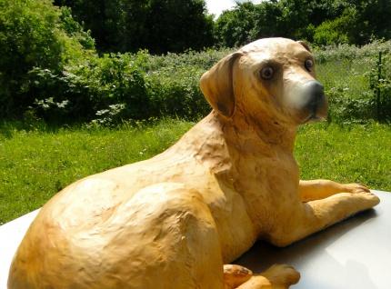 Hunde Figur Groß DEKO HUND 46x16x22 AUS KUNSTSTEIN MADE IN ITALY F 92
