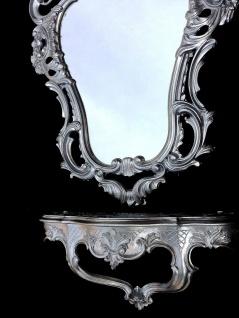 Wandspiegel Oval mit Konsole Silber 50x76cm Barock Wandspiegelablage 49x21cm