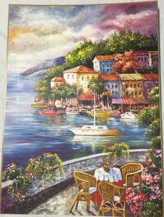 Landschafts Bild Haus am Fluß Gemälde Haus am See 50x70 MDF Rückwand L6