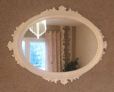 Wandspiegel weiß Hochglanz Oval Antik 62x48 Barock Badspiegel Flurspiegel Antik