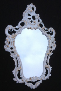 Wandspiegel Barock Weiß-Gold Oval Antik Repro Spiegel Jugendstil 50X76 Deko