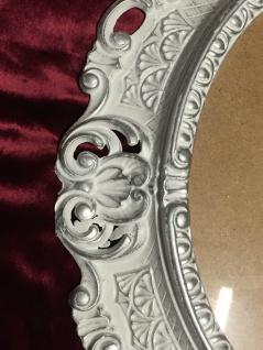 BILDERRAHMEN OVAL Weiß-Silber Antik Barock Fotorahmen 45X37 Spiegelrahmen Neu - Vorschau 3
