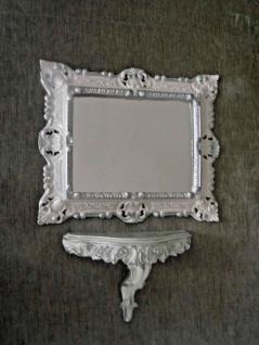 Wandspiegel mit Wandkonsole Weiß Silber Barock 45x37 Spiegel mit Konsole Vintage - Vorschau 3