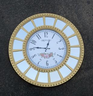 Wanduhr Gold Blumenmuster Rund 55cm Moderne Uhr Dekorative Spiegel Wanduhr