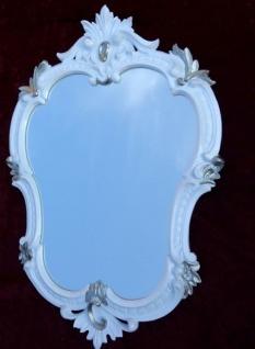 Wandspiegel Oval Weiß-Silber Barock Spiegel Antik 50X35 Badspiegel c444 Neu