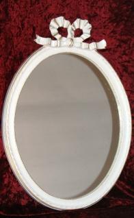 Wandspiegel Oval Weiß gold Antik Badspiegel 57x41 BAROCK Schleife Wanddeko 3066