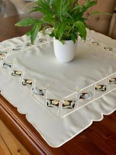 Tischdecke Mitteldecke 85x85 cm Beige mit Rosen und Enten bestickt Stickerei