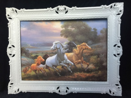 Gerahmtes Pferde Bild Gemälde Pferde Bilderahmen Weiß Wandbild 90x70cm Bild T1