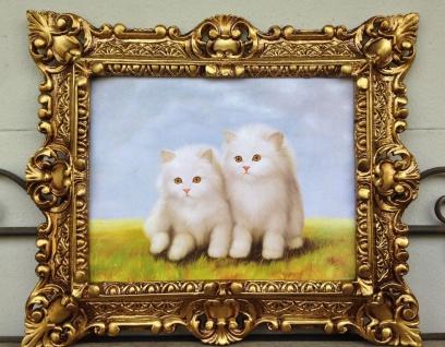 Gemälde Katze Katzen Bild Tiere 45x38 Kunstdruck Bild Wandbild Barock Rahmen