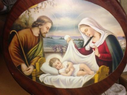 Heilige Bilder Jesus Maria Christliche Bilder Oval 38cmx 48cm auf MDF platte - Vorschau 4