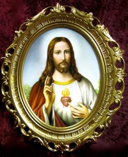 Jesus Bild Heiligenbild Jesus Gemälde Christusbild Jesus Heilige 68x58cm Herz