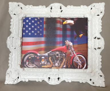 Motorrad Chopper ROT mit Rahmen Adler Fahne Harley 45x38 Oldtimer Kraftrad Bild