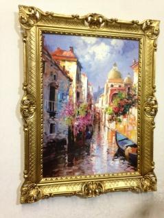 Venedig Brücke Boot Gerahmte Gemälde 90x70 Italien Venezia Venedig Gondel Dom - Vorschau 3