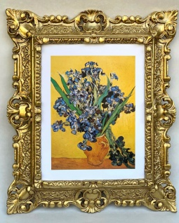 Gerahmte Barock Bild Van Gogh Les Iris Kunstdruck Wandbild 45x37 Blumen in Vase