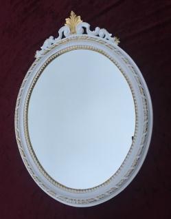 Wandspiegel Weiß Gold Barock Antik Bad Spiegel Oval 63X46 Mirror Ovaler Spiegel