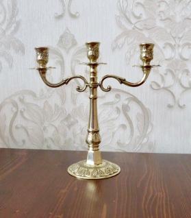 ANTIK Kerzenständer Messing Kerzenleuchter 3 flammig GOLD 24cm Massiv Kandelaber - Vorschau 2