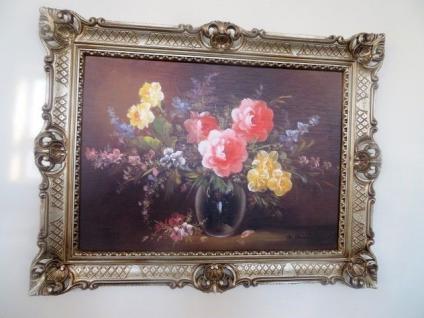Gemälde Gerahmte WildeRosen in Vase Schwarz 90x70 Flowers Bild mit Rahmen 99