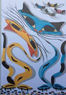 Bild Katzen Tiere KunstdruckBild 50x70 Katzen Wandbild poster