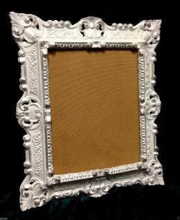 Bilderrahmen Barock Weiß SILBER Antik Rechteckig Fotorahmen 45x37 mit Rückwand