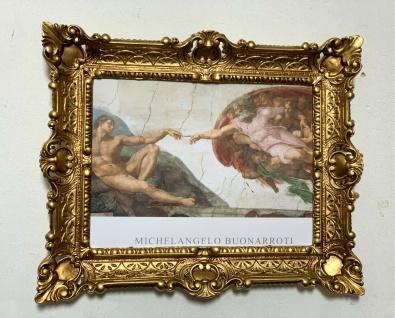 Die Erschaffung Adams Gemälde von Michelangelo 56x46 Gerahmte Gemälde